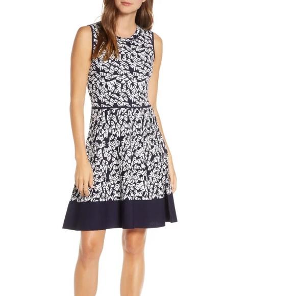 Eliza J Printed Fit & Flare Sleeveless Dress